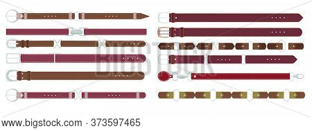 Brown Leather Belts. Leather Belt With Metal Buckle Vector Set On White, Strap Elegant Garment. Trou