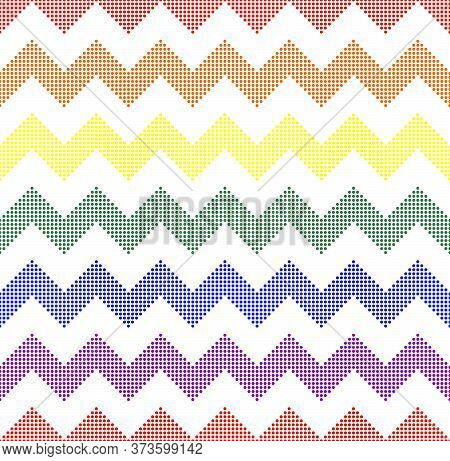 Rainbow Seamless Zigzag Pattern, Vector Illustration. Chevron Zigzag Pattern With Colorful Lines Fro
