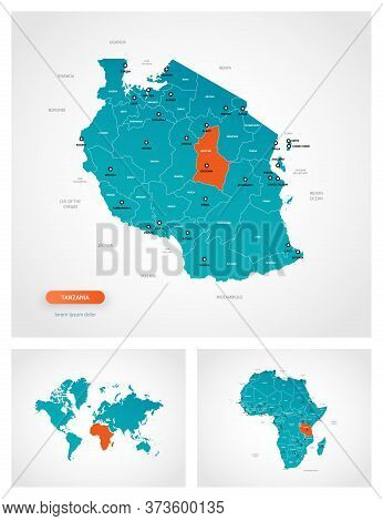 Editable Template Of Map Of Tanzania With Marks. Tanzania On World Map And On Africa Map.