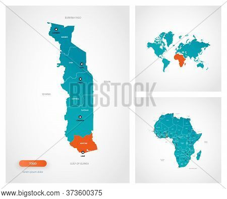 Editable Template Of Map Of Togo With Marks. Togo On World Map And On Africa Map.