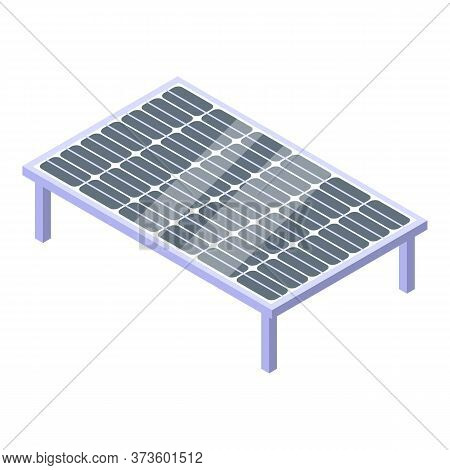 Ground Solar Panel Icon. Isometric Of Ground Solar Panel Vector Icon For Web Design Isolated On Whit