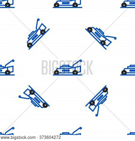Line Lawn Mower Icon Isolated Seamless Pattern On White Background. Lawn Mower Cutting Grass. Colorf