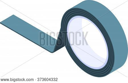Black Scotch Tape Icon. Isometric Of Black Scotch Tape Vector Icon For Web Design Isolated On White