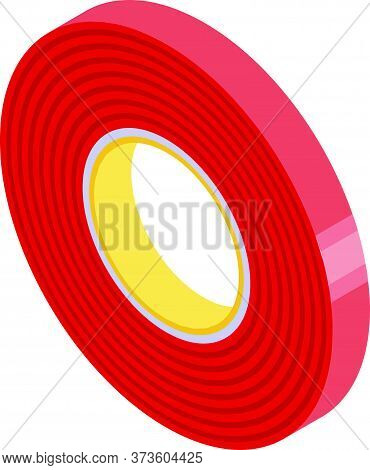Red Scotch Tape Icon. Isometric Of Red Scotch Tape Vector Icon For Web Design Isolated On White Back
