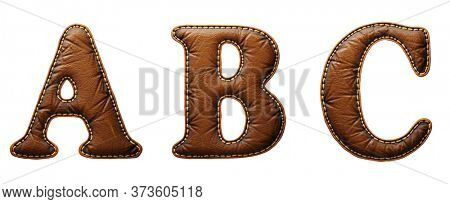 Set of leather letters A, B, C uppercase. 3D render font with skin texture isolated on white background. 3d rendering