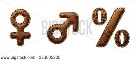 Set of symbols female, male, percent made of leather. 3D render font with skin texture isolated on white background. 3d rendering