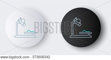 Line Microscope Icon Isolated On Grey Background. Chemistry, Pharmaceutical Instrument, Microbiology