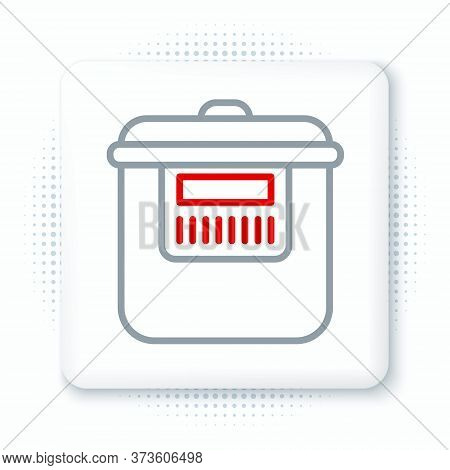 Line Slow Cooker Icon Isolated On White Background. Electric Pan. Colorful Outline Concept. Vector