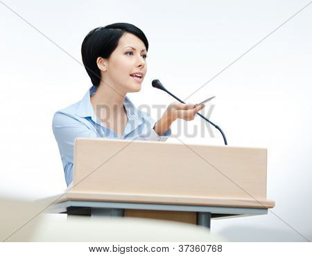Female executive at the board. Business training