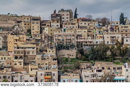 Buildings On A Steep Hill In The Center Of Amman, Jordan