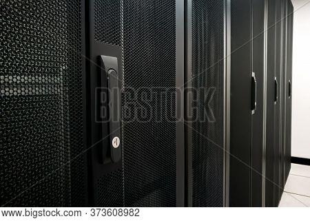 Close Up Shot Of Rack Server Cabinet In Datacenter