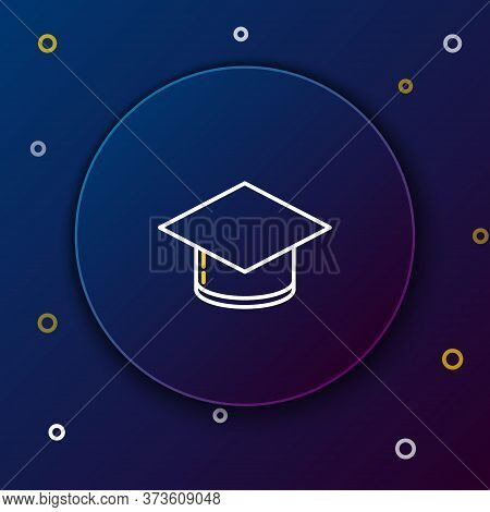 Line Graduation Cap Icon Isolated On Blue Background. Graduation Hat With Tassel Icon. Colorful Outl