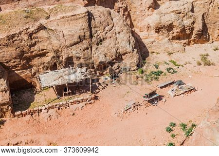 Aerial View Of The Souvenir Stalls In The Ancient City Petra, Jordan