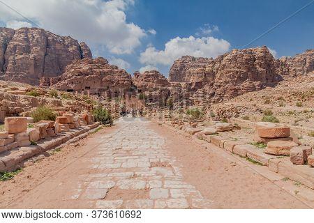 Petra, Jordan - March 24, 2017: Colonnaded Street In The Ancient City Petra, Jordan