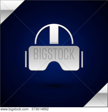 Silver Virtual Reality Glasses Icon Isolated On Dark Blue Background. Stereoscopic 3d Vr Mask. Vecto