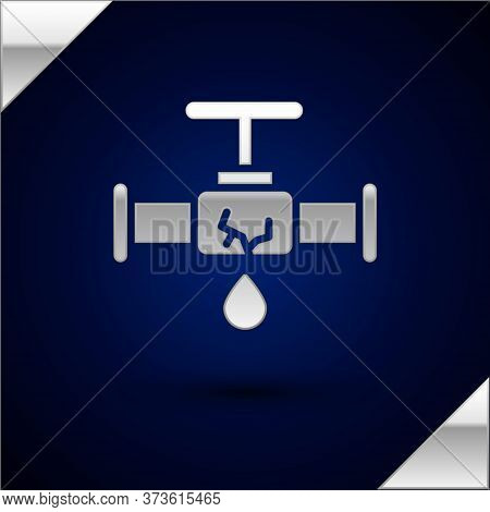 Silver Broken Metal Pipe With Leaking Water Icon Isolated On Dark Blue Background. Vector Illustrati