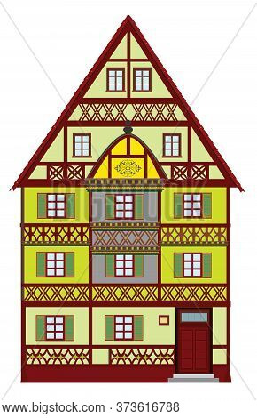Historic Townhouse From The Middle Ages 3.  Medieval Building From Europe With Many Elaborate Detail