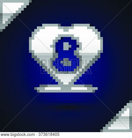 Silver Heart With 8 March Icon Isolated On Dark Blue Background. Romantic Symbol Linked, Join, Passi