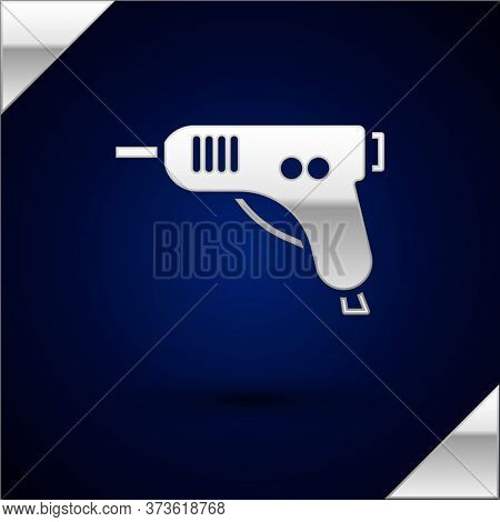 Silver Electric Hot Glue Gun Icon Isolated On Dark Blue Background. Hot Pistol Glue. Hot Repair Work
