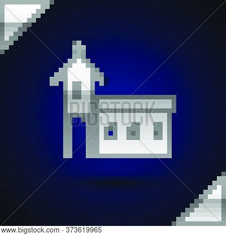 Silver Church Building Icon Isolated On Dark Blue Background. Christian Church. Religion Of Church.