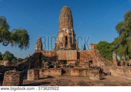 Ayutthaya Unesco World Heritage Site, Old Ruins Of Siam Temples. Thailand. Wat Phra Ram Stupa Ruins