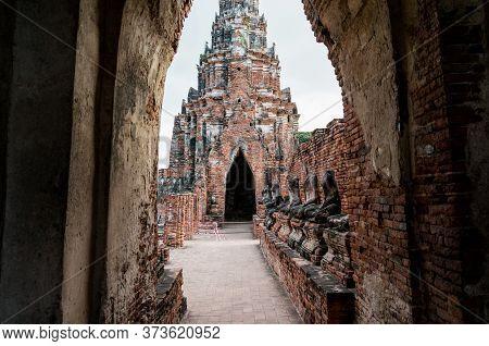Old Ruines Of Wat Chai Wattanaram Temple. Thailand World Heritage Landmark