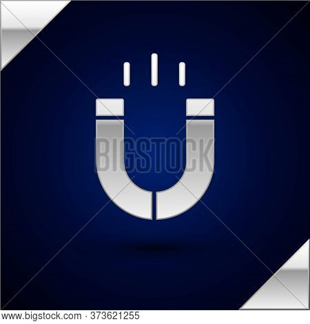 Silver Magnet Icon Isolated On Dark Blue Background. Horseshoe Magnet, Magnetism, Magnetize, Attract