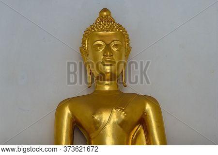 Bangkok, Thailand - December 24, 2015: Golden Buddha Sculpture. Wat Arun Buddha Decoration