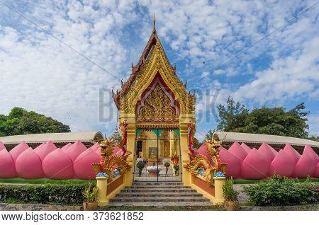 Ang Thong, Thailand - December 31, 2015: Wat Muang Buddhist Temple With Pink Lotus Petals Decoration