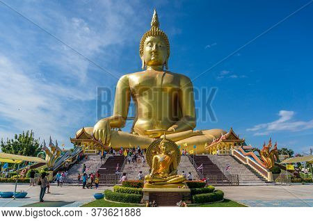 Ang Thong, Thailand - December 31, 2015: The Big Buddha Of Thailand In Wat Muang. Giant Sitting Budd
