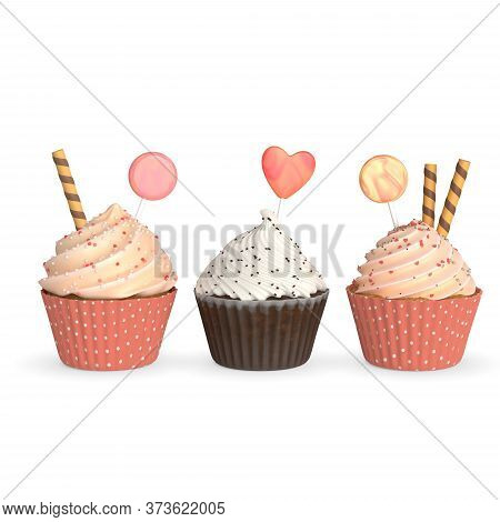 Set Of Realistic Cupcakes On White Background. Three Cute Realistic Cupcakes With Icing Glaze And Lo