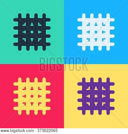 Pop Art Cracker Biscuit Icon Isolated On Color Background. Sweet Cookie. Vector