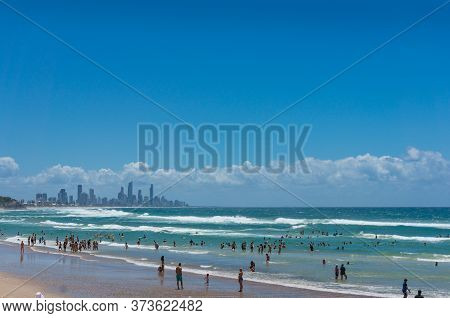 Gold Coast, Australia - February 21, 2016: Burleigh Beach With People Enjoying Outdoor Activities. G