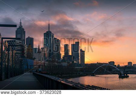Melbourne, Australia - June 18, 2017: Melbourne Cityscape At Sunrise With Melbourne Cbd Skyscrapers