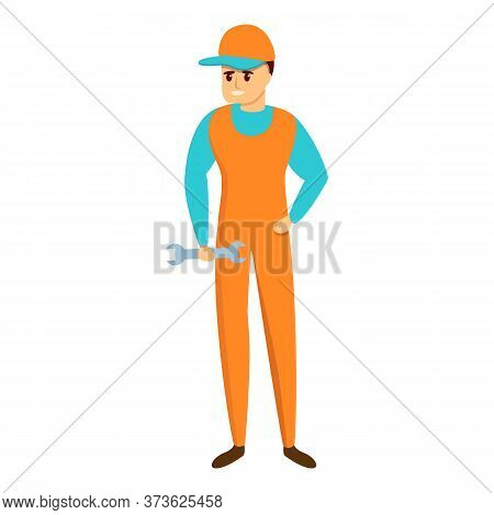 Auto Mechanic With Key Icon. Cartoon Of Auto Mechanic With Key Vector Icon For Web Design Isolated O