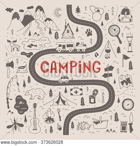Hand-drawn Camping Map With Lettering. Vector Hiking Trail.