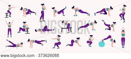 Workout Girl Set. Woman Doing Fitness And Yoga Exercises. Lunges, Pushups, Squats, Dumbbell Rows, Bu