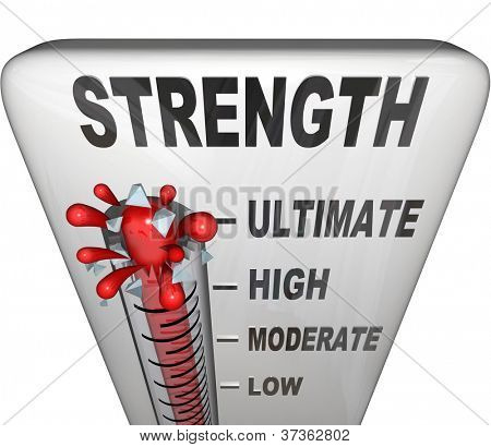 A thermometer measuring your strength level with mercury rising past low, moderate and high to the word Ultimate poster