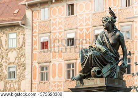 Detail Of Erzherzog Johann Fountain Complex In Hauptplatz (main Square) Of Graz, The Capital Of Styr