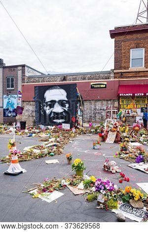 Mpls, Mn/usa - June 21, 2020: Memorial And Offerings For George Floyd At Site Of His Arrest And Deat