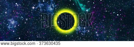 Solar Eclipse High Definition Star Field Background . Starry Outer Space Background Texture . Colorf