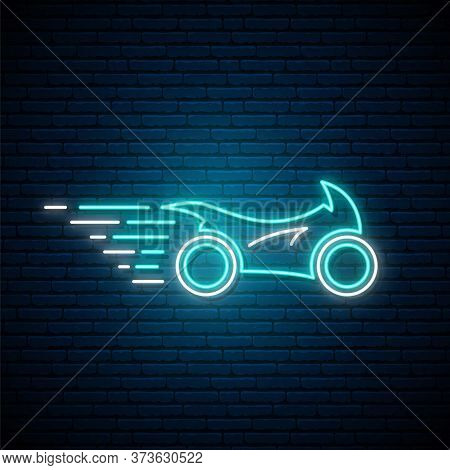 Glowing Neon Sport Motorcycle Sign. Bright Glowing Motorcycle In Motion. Stock Vector Illustration.