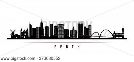 Perth Skyline Horizontal Banner. Black And White Silhouette Of Perth, Australia. Vector Template For