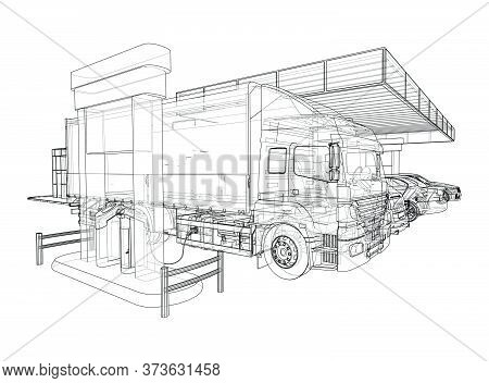 Electric Car Charging Station With Cars And Truck. Vector Rendering Of 3d. Wire-frame Style