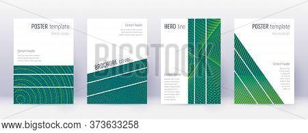 Geometric Brochure Design Template Set. Green Abstract Lines On Dark Background. Alluring Brochure D