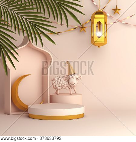 Sheep And Palm Leaves, Gold Lantern, Cresent, Islamic Background, Ramadan Kareem, Eid Al Fitr Adha,