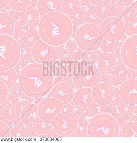 Indian Rupee Copper Coins Seamless Pattern. Impressive Scattered Pink Inr Coins. Success Concept. In