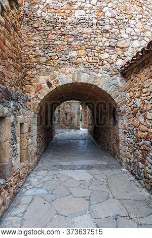 Castle De Pals, Historic Stone Walls And Arches, Pals, Spain