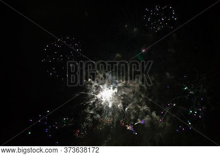 The Composition Of Flares Of A Pyrotechnic Salvo Consists Of Various Color Charges. Reminds A Fantas