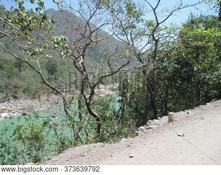 Beautiful scenic view of river Ganga Uttarakhand India